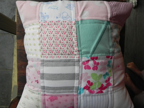 Baby Clothes, Quilted Cushion