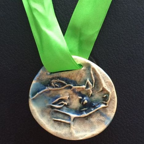 Awesome Lake Farm Trail Run Medal, hand-made by the residents of the Lake Farm Centre
